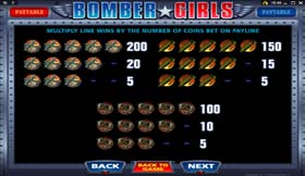 Bomber Girls Pay Table 5