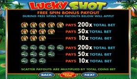Lucky Shot PayTable 4